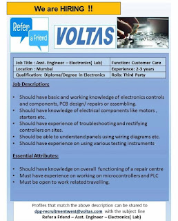 Voltas Limited Mumbai Location Jobs Vacancy For Diploma/Degree Candidates Position Asst. Engineer