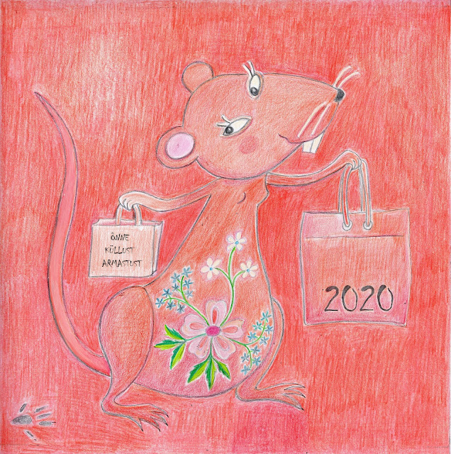 illustration art Lihula flower embroidery rat year 2020