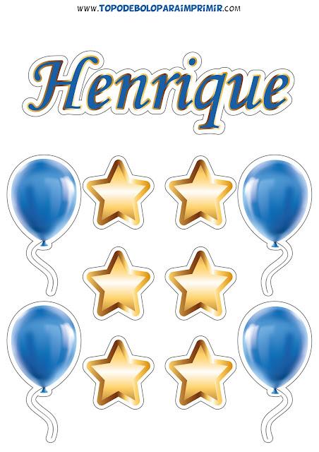 topo de bolo nome henrique para imprimir