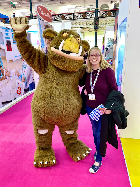 Me posing for a photo with a giant gruffalo character at the Toy Fair London Olympia January 2020
