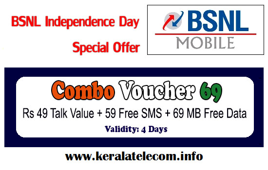 BSNL to celebrate 69th Independence Day with 'New Combo Voucher 69' having Rs 49 Talk Value, 59 Free SMS and 69 MB Free 3G/2G Data