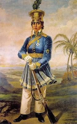 Retrato de Maria Quitéria de Jesus Medeiros, pintado em 1920 por Domenico Failutti. Integra o acervo do Museu Paulista. A primeira militar brasileira