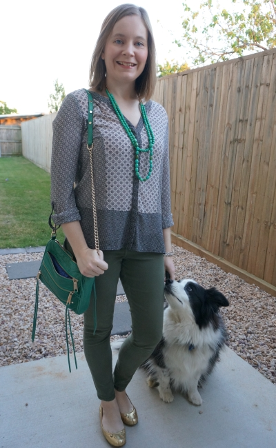olive skinny jeans and mixed print shirt business causal outfit matching shoes and necklace emerald green | awayfromblue