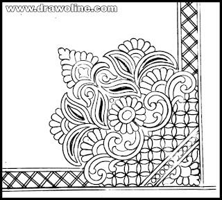 flower corner design black and white,corner flower decoration