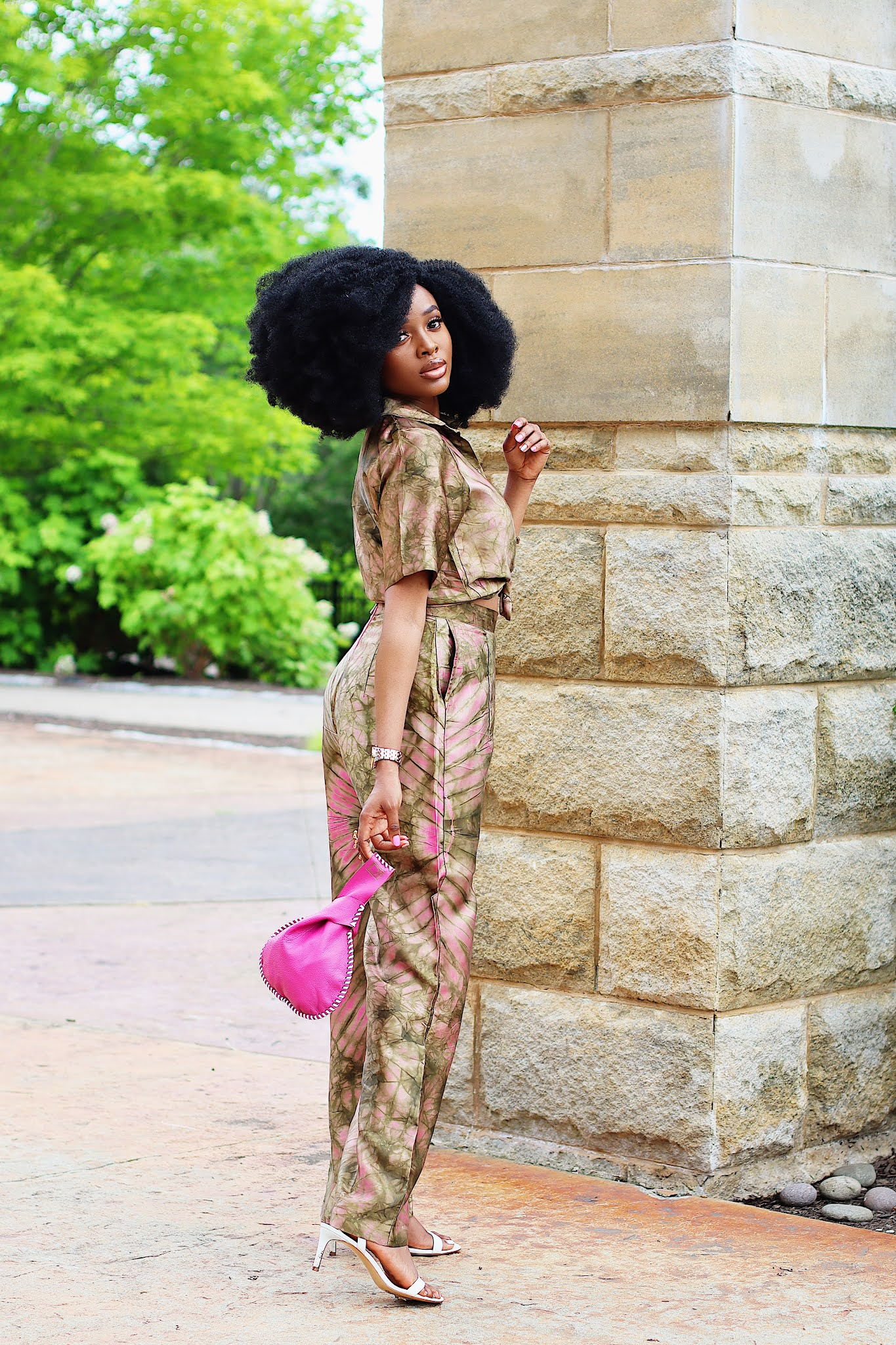 African Inspired Adire silk two piece set