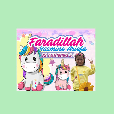 Banner Ultah Tema Unicorn Cute