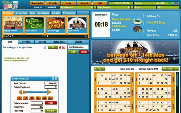 William Hill Bingo Games Screen