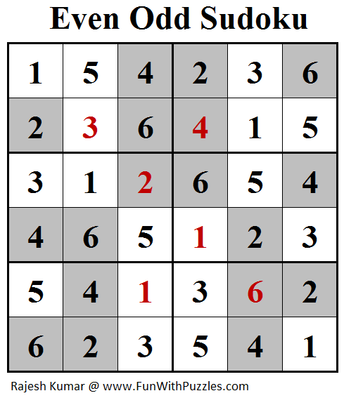 Even Odd Sudoku (Mini Sudoku Series #89) Solution