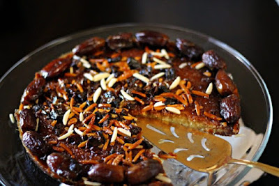 Arabic Date and Honey Cake in a serving dish