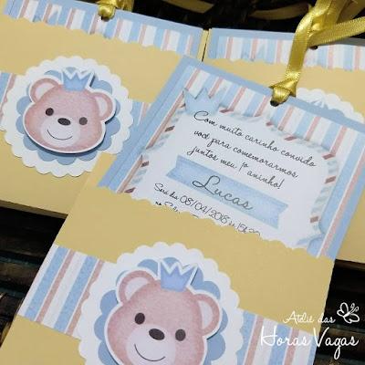 convite artesanal personalizado aniversário infantil 1 aninho príncipe urso ursinho menino azul claro creme bege bebê