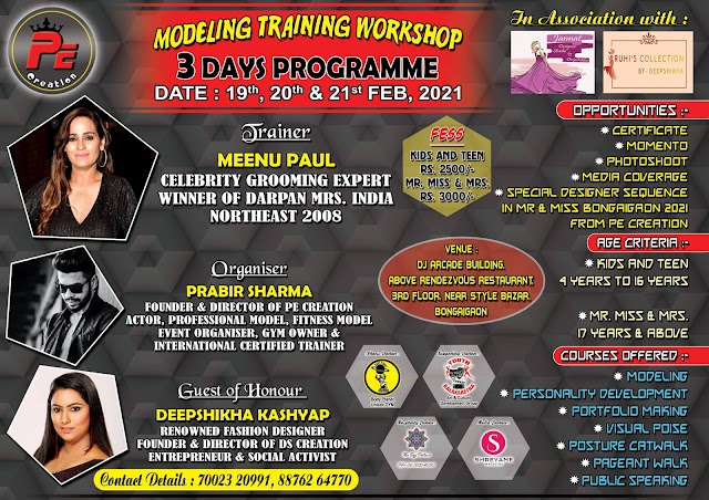 Biggest Modeling Workshop in Bongaigaon by PE Creation from 19th Feb 2021