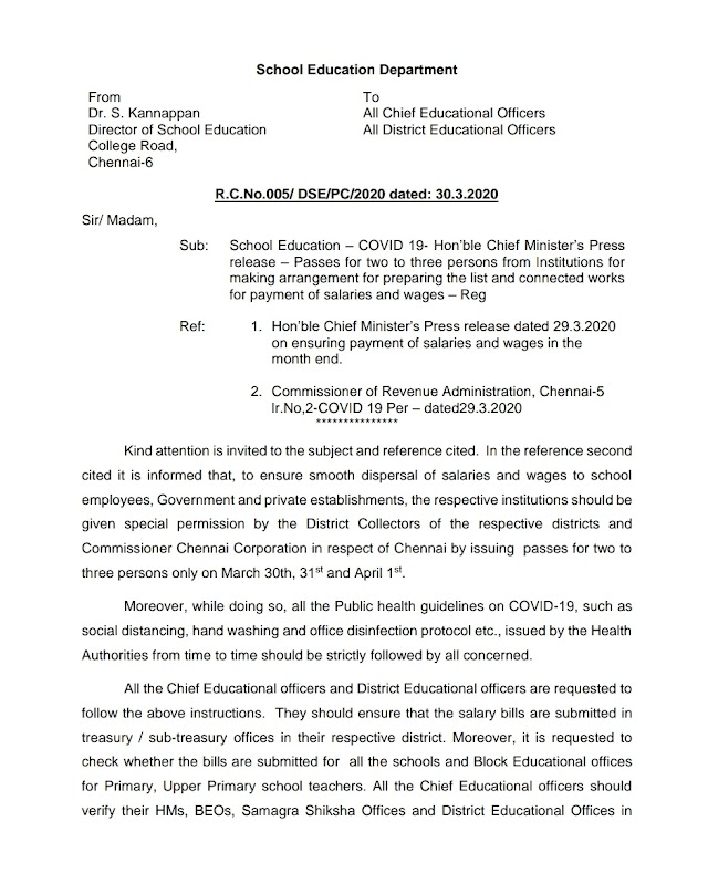 Director of School Education instructions for salary preparation