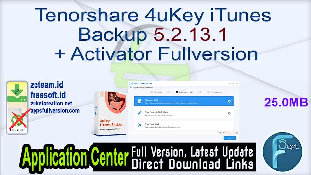 Tenorshare 4uKey iTunes Backup 5.2.13.1 + Activator Fullversion