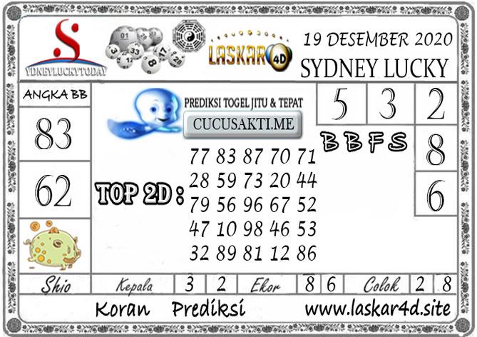 Prediksi Sydney Lucky Today LASKAR4D 19 DESEMBER 2020
