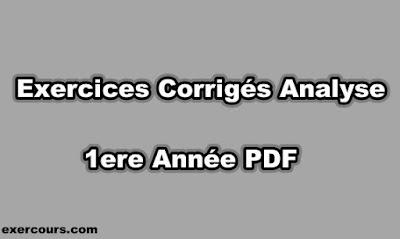 Analyse 1ere Année Exercices Corrigés PDF