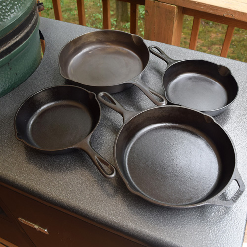 Seasoning cast-iron cookware on a Big Green Egg