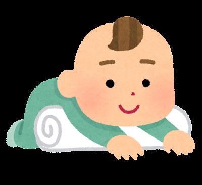 タオルを使ってうつ伏せになる赤ちゃんのイラスト