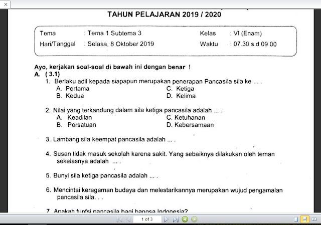 Soal Ulangan K13 Kelas 6 Tema 1 Subtema 3