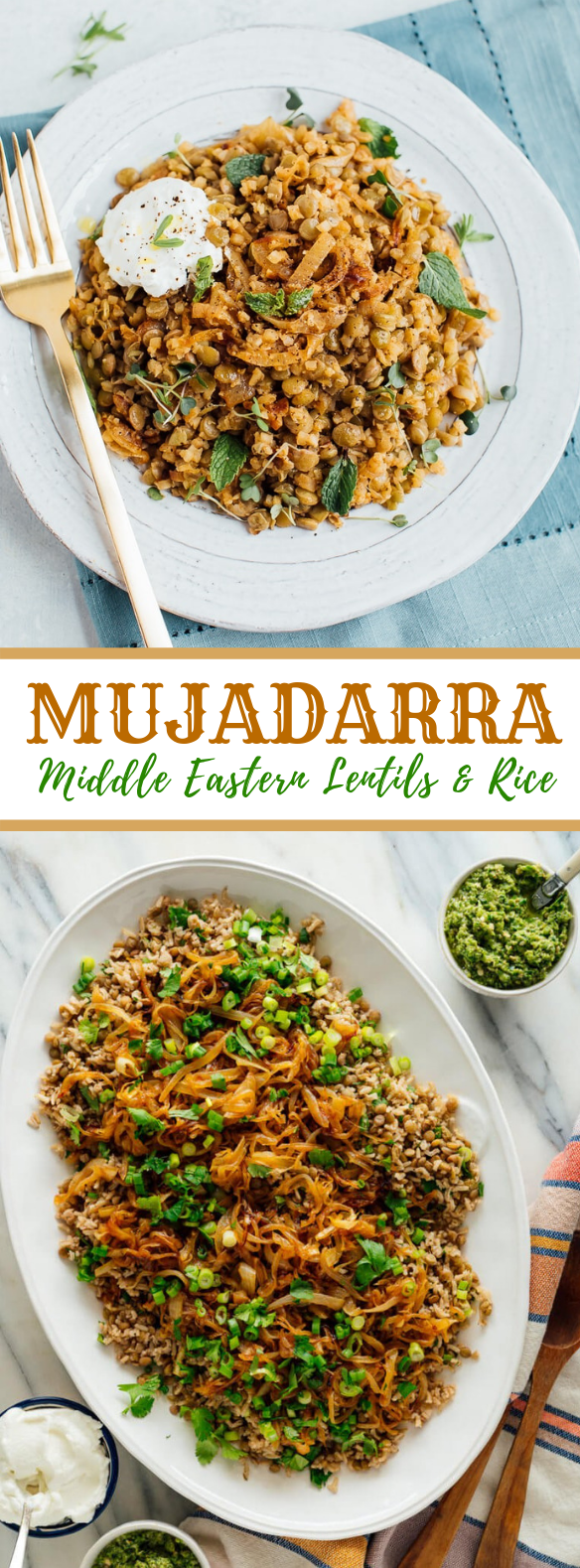 Mujaddara (Lentils and Rice with Caramelized Onions) #vegetarian #lunch