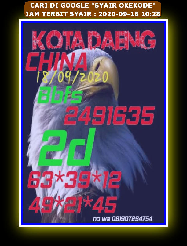 Kode syair Hongkong Sabtu 19 September 2020 67