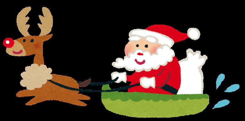 クリスマスのイラストソリに乗ったサンタとトナカイ かわいい