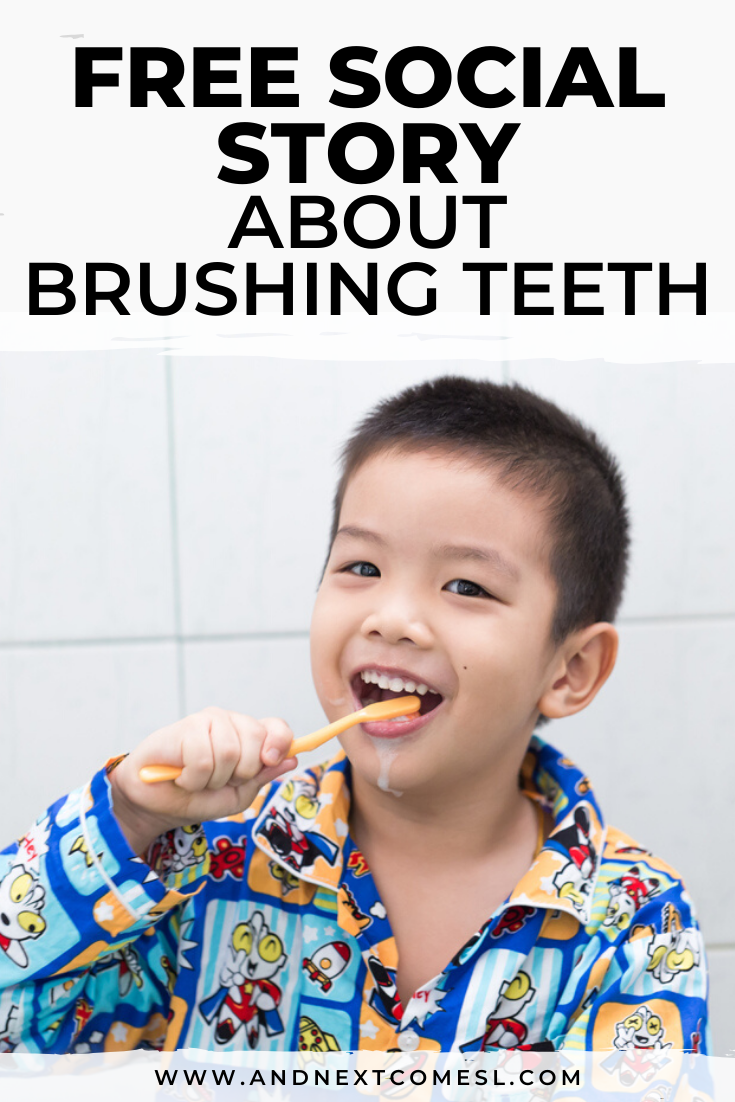 Free printable social story for kids with autism about brushing teeth