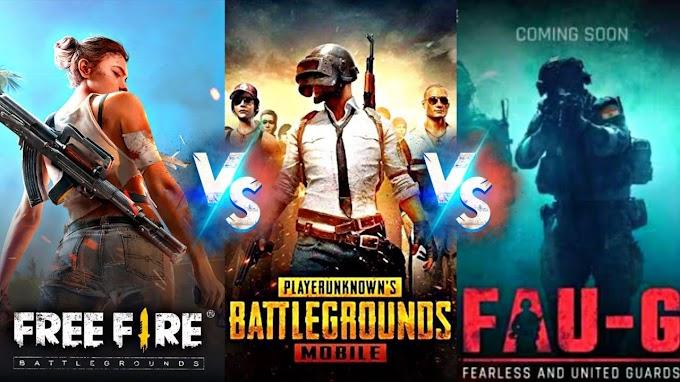 PUBG vs FAU G vs Free Fire
