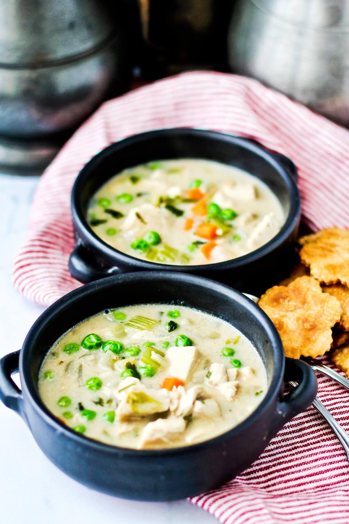 Chicken Pot Pie Soup in bowls.