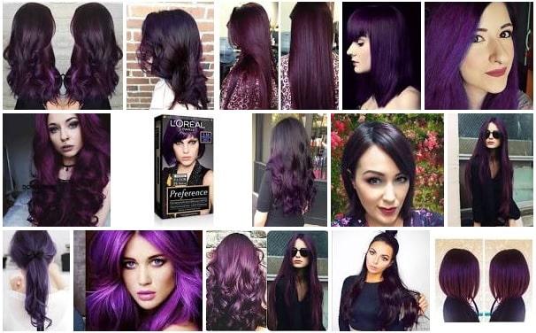 Mujeres con el cabello teñido de violeta