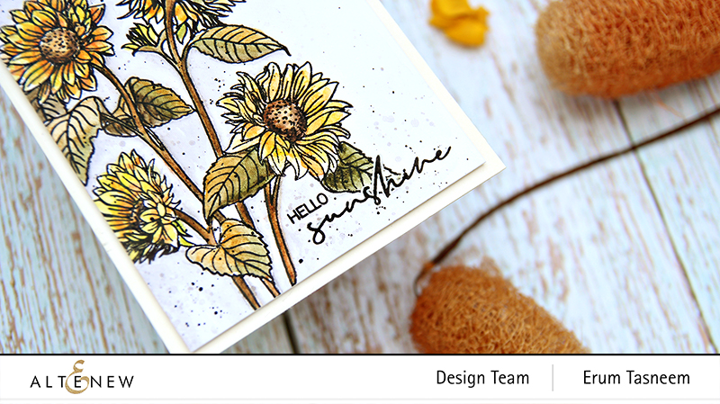 Altenew Paint-A-Flower: Sunflower + Woodless Watercolour Pencils | Erum Tasneem | @pr0digy0