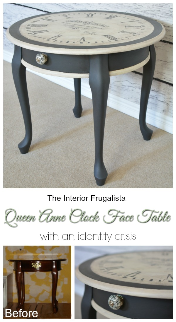 Old World Clock Face Table Makeover