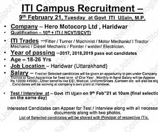 Hero Motocorp Ltd, Haridwar ITI Jobs Campus Recruitment  9th February 21, Tuesday at Govt ITI Ujjain, M.P.