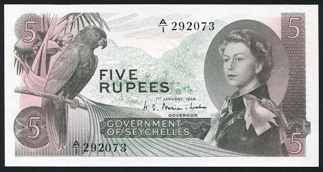 Seychelles banknotes 5 Rupees note bill young Queen Elizabeth