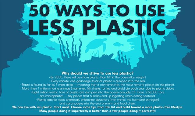 50 Ways of using less plastic #inforgaphic