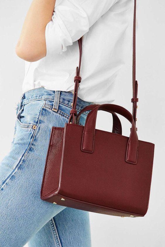 Burgundy handbags