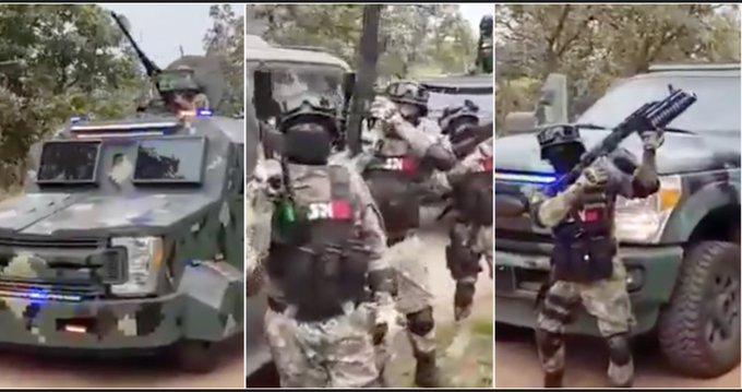 Vehículos blindados, Barrets, lanzagranadas. Grupo de Élite del CJNG del Mencho, el mismo que le pelea Guanajuato a El Marro presume poder en VIDEO
