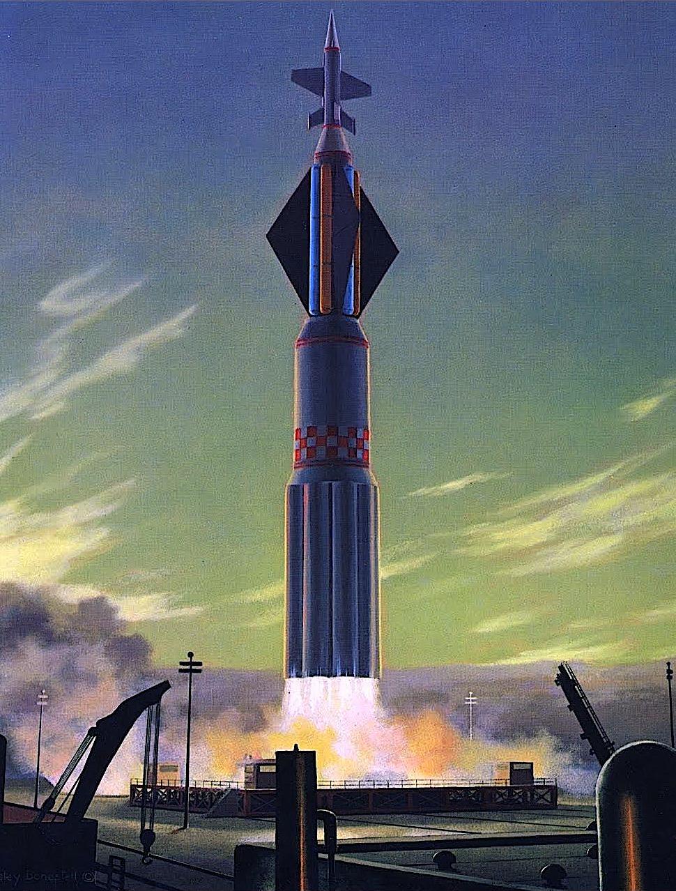 Chesley Bonestell rocket launch