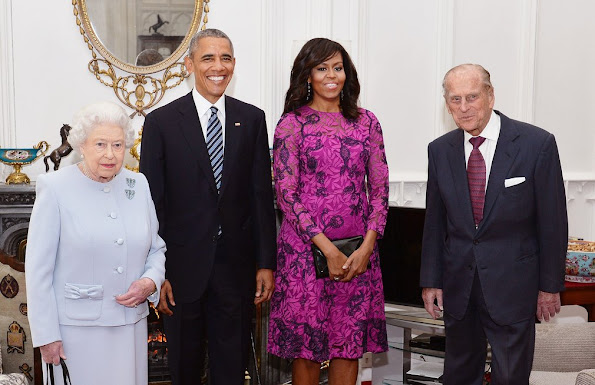 President Obama and his wife will have lunch with HM Queen Elizabeth II at Windsor Castle and dinner with Prince William and his wife Catherine, Duchess of Cambridge, Kate Middleton, tiara diamond earrings