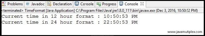 Output of Java program that displays time in different formats.
