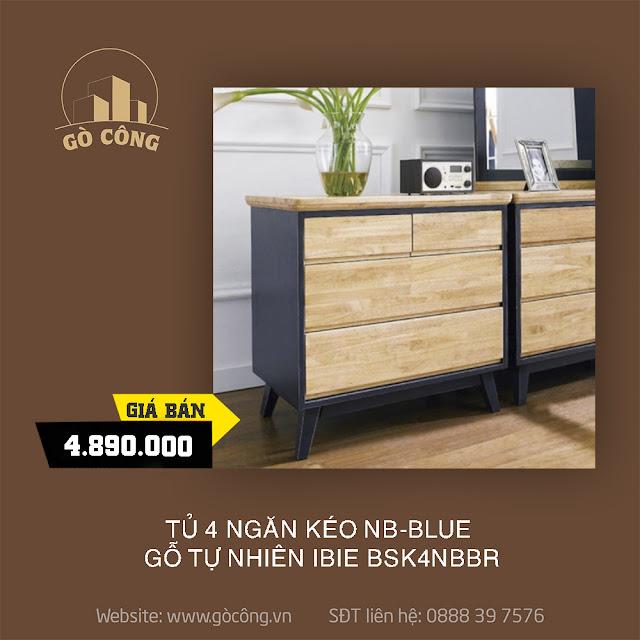 Tủ 4 Ngăn Kéo NB-Blue Gỗ Tự Nhiên Ibie BSK4NBBR - Xanh (80 x 42 cm)