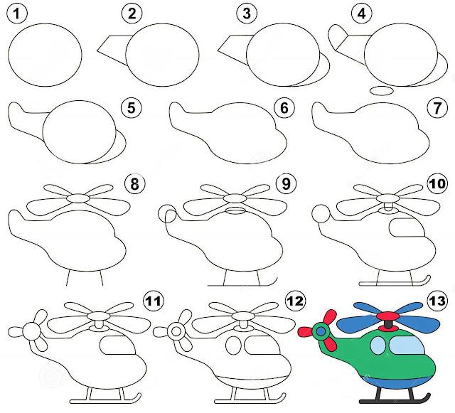رسم طائرة هليكوبتر للاطفال