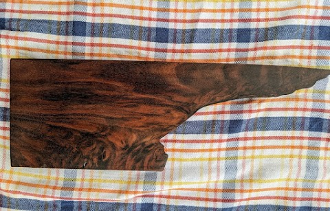 Figured walnut, live edge serving board - $25