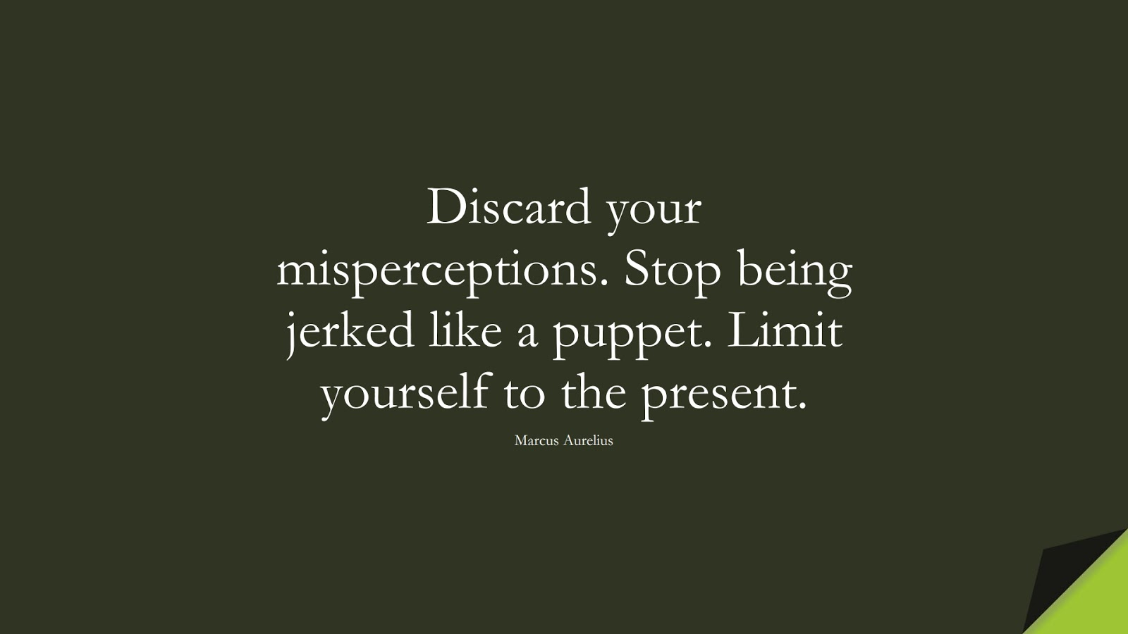Discard your misperceptions. Stop being jerked like a puppet. Limit yourself to the present. (Marcus Aurelius);  #StoicQuotes