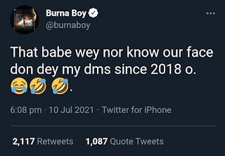 Burna Boy's tweet rebuking Bia