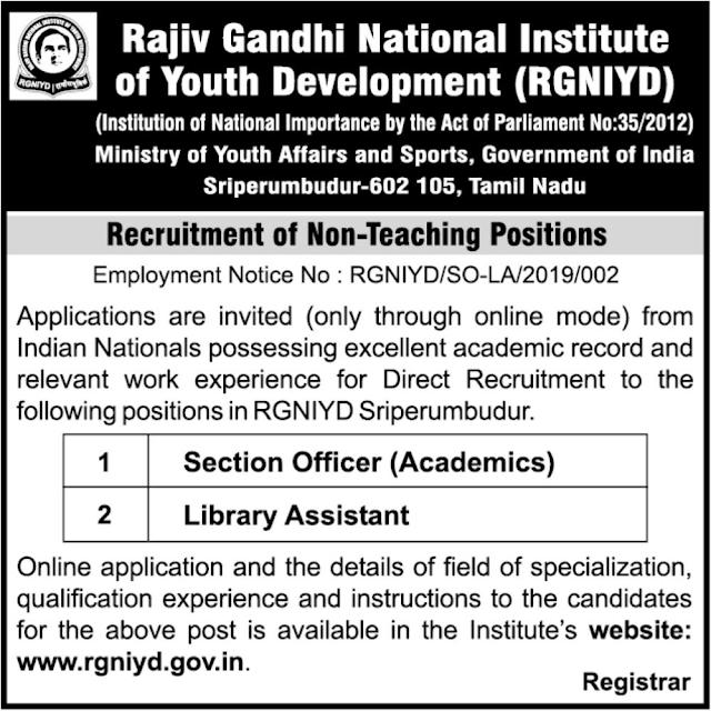 RGNIYD Sriperumbudur Recruitment of Non-Teaching Posts