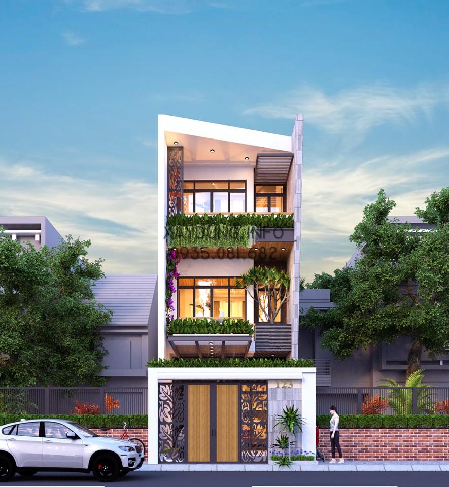 Mẫu nhà phố hiện đại 3 tầng với kích thước 5m * 25m cho các bạn tham khảo