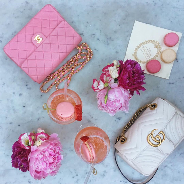 ladurée laduree georgetown soho barbie pink macaron drink peonies gucci white marmont chanel pink vintage mini flap macarons pink fashion blogger