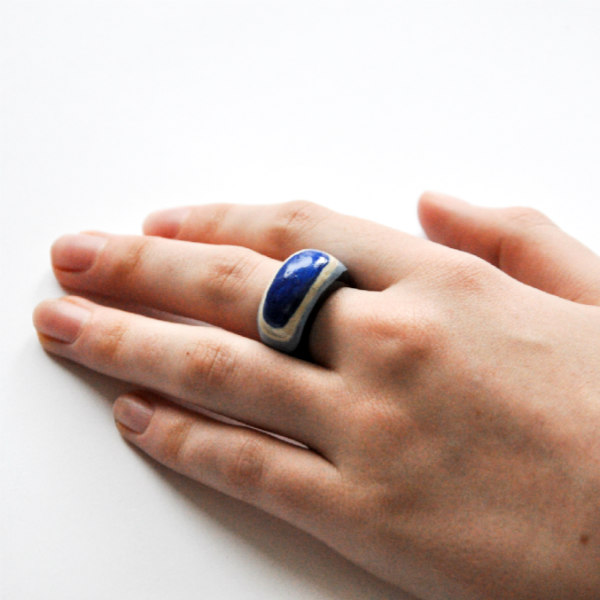 layered blue paper ring as worn
