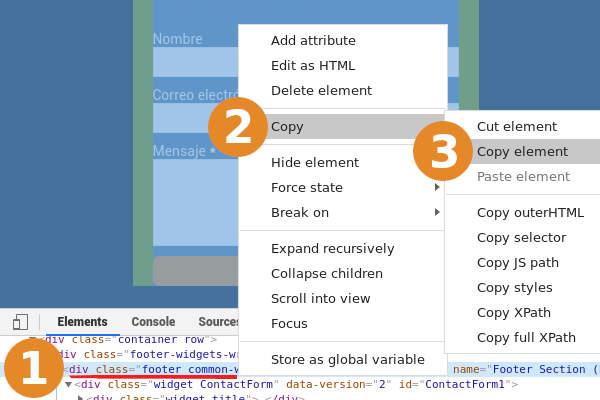 copiar el codigo html del formulario de contacto en blogger