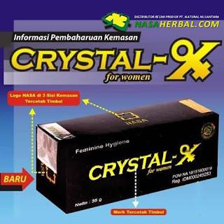 Ciri Crystal X Asli: Logo Nasa dan Series Produk Crystal X Asli Tercetak Timbul
